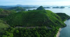 Drone footage of island landscape with in foreground palm trees growing on a hill with bright green grass in the north of Labuan Bajo, Flores. The camera is starting low and is ascending going towards the islands over the hill.