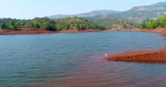 Drone footage of the Koyna river in the surroundings of Tapola, Maharashtra, India, with its tentacle like banks made of red earth making stairs shape covered in vegetation, a white bird is checking the water and other ones are flying behind. The camera is slowly going towads the bird before it strats flying and is following it.