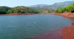 Drone footage of the Koyna river in the surroundings of Tapola, Maharashtra, India, with a white bird flying over its water from one bank to the other. The camera is following the bird over the water.