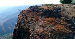 Drone footage of Elephant Head Rock in the surroundings of Mahabaleshwar, Maharashtra, India, with steep rocky hills covered in tropical vegetation and family of macaque monkeys running on the cliffs. The camera is going over the cliffs turning around the monkeys.