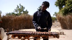 Footage of black man playing Balafon instrument standing, shot at 50fps from the front.
