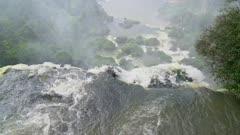 Iguazu Falls upper cataract and rising mist