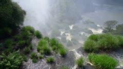 Iguazu Falls top edge and rising mist