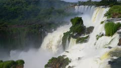 Iguazu Falls upper cataract and rising mist