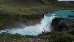Rainbow below waterfall