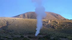 Geyser venting steam