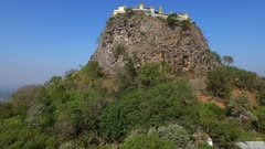 Aerial vertical climb Mount Popa