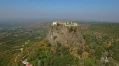 Aerial fly forward to Mount Popa