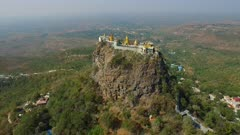 Aerial fly forward over Mount Popa
