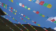 Buddhist Prayer Flags blowing in the wind