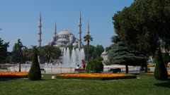 Sultan Ahmet Mosque and fountain