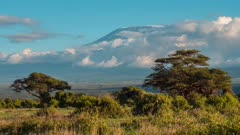 Time Lapse clouds moving over Mount Kilimanjaro