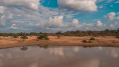 Time Lapse of clouds moving over an African lake
