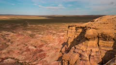 Time Lapse clouds over Mongolian Desert Canyons