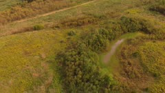 Aerial View Of autumn meadow and trees. Countryside landscape.