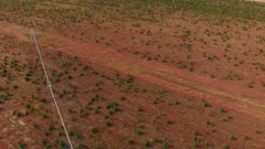 Aerial view of tree farm and an agricultural sprinkler.