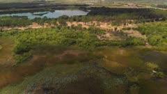 Aerial view of Florida wetland. Drone flight.