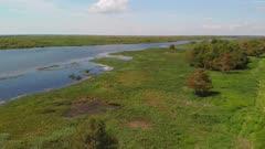 Lake Okeechobee aerial view. Drone flight.