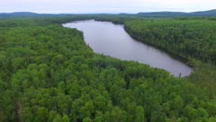 Small Lake, Boreal Forest, Slow Pan Across