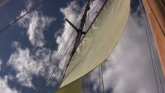 Sail of Tall Masted Sailing Ship, View Toward Sky