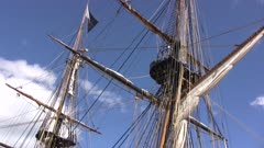 Tall Masted Sailing Ship, View Up Masts