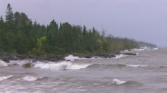 Lake Superior, Crashing Waves on Shoreline