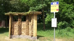 bee hotel with bee buzz stop information sign, a bee nesting wall, officially opened in June 2010, Arboretum Belmonte,WAGENINGEN, THE NETHERLANDS