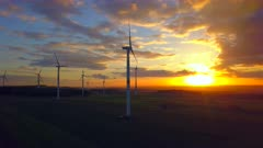 Onshore wind farm at sunset, Kirf, Saargau, Rhineland-Palatinate, Germany, Europe