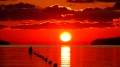 Sunrise over sea at the bay of Puerto Pollenca, Majorca, Balearic Islands, Spain, Mediterranean, Europe