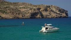Boats in the bay of Cala Molins in Cala San Vicente, Majorca, Balearic Islands, Spain, Mediterranean, Europe
