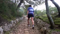 Female hiker on hiking trail, Tramuntana Mountains, Majorca, Balearic Islands, Spain, Mediterranean, Europe