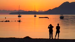 Morning mood at Puerto Pollenca, Badia de Pollenca, Majorca, Balearic Islands, Spain, Mediterranean, Europe