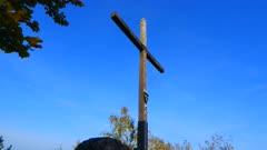 Cross on the summit of Maunert mountain near Taben-Rodt, Saar Valley, Rhineland-Palatinate, Germany, Europe