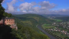 Hermitage with Funerary Chapel for John of Bohemia near Kastel-Staadt with view across Saar Valley near Serrig, Rhineland-Palatinate, Germany, Europe