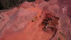 Aerial view of a digger in a quarry, Saar Valley, Rhineland-Palatinate, Germany, Europe