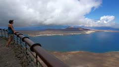 View of Mirador del Rio to La Graciosa, Lanzarote, Canary Islands, Spain, Atlantic, Europe