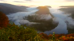Morning mood and fog at Big Loop of Saar River near Orscholz, Mettlach, Saarland, Germany, Europe
