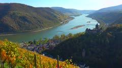Stahleck Castle and Rhine River, Bacharach, Rhineland-Palatinate, Germany, Europe