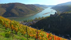 Stahleck Castle and Rhine River, Bacharach, Rhineland-Palatinate, Germany, Europe
