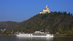 Marksburg Castle in Braubach, Rhine River, Rhineland-Palatinate, Germany, Europe