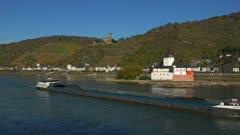 Pfalzgrafenstein Castle and Gutenfels Castle in Kaub, Rhine River, Rhineland-Palatinate, Germany, Europe