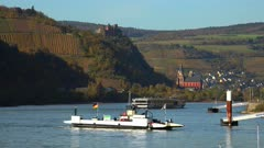 View from Kaub over Rhine River to Oberwesel with Schoenburg Castle, Rhineland-Palatinate, Germany, Europe