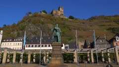 Bluecher Monument and Gutenfels Castle in Kaub, Rhine River, Rhineland-Palatinate, Germany, Europe