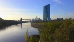 Frankfurt, Main River, European Central Bank and skyline, Frankfurt am Main, Hesse, Germany, Europe