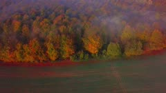 Aerial view of a foggy landscape in autumn, Onsdorf, Saargau, Rhineland-Palatinate, Germany, Europe