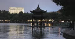 Pavilion on West Lake, Hangzhou, Zhejiang, China, Asia
