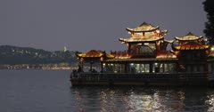 Floating restaurant on West Lake, Hangzhou, Zhejiang, China, Asia