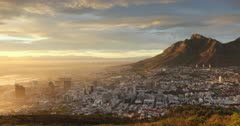 Table Mountain and City Bowl at sunrise, Cape Town, Western Cape, South Africa, Africa