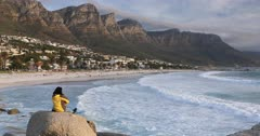 Woman at Camps Bay, Cape Town, Western Cape, South Africa, Africa