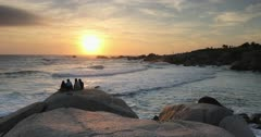 People watching sunset at Camps Bay, Cape Town, Western Cape, South Africa, Africa